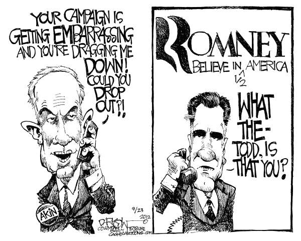John Darkow - Columbia Daily Tribune, Missouri - Akin Romney - English - campaign, embarrassing, Akin, Romney, Todd, Mitt, Believe, America, half, drop out