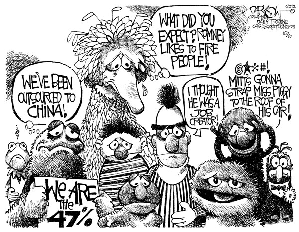 Occupy Sesame Street © John Darkow,Columbia Daily Tribune, Missouri,Sesame Street,Big Bird,Ernie,Bert,China,Outsourced,Job,Creator,Mitt Romney,Pig,Fire,People,PBS Problems