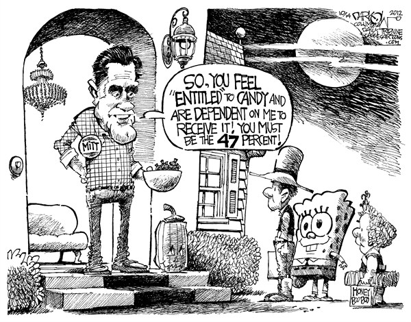 John Darkow - Columbia Daily Tribune, Missouri - Trick or Entitled - English - Halloween, Trick, Treat, Mitt Romney, Door, Bowl, Candy, Sponge Bob, Honey, Boo Boo, Pumpkin, Entitled, Dependent, Receive, Step