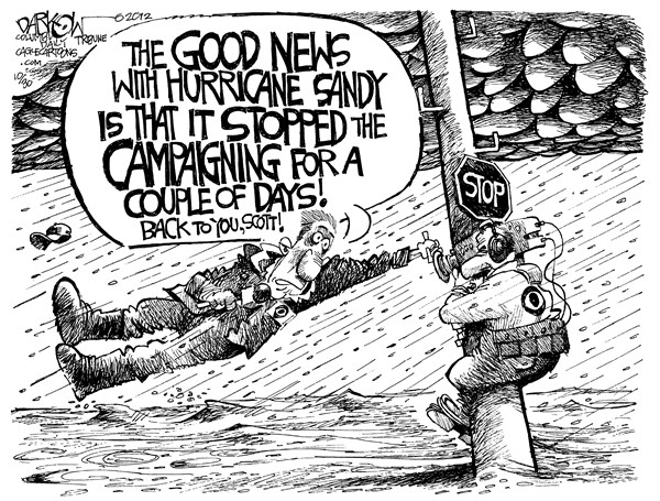 John Darkow - Columbia Daily Tribune, Missouri - The Hurricane and the Campaign - English - Weather, Bad, Rain, Hurricane, Forecast, Sideways, Wind, Pour, Camera, Man, Report, Campaign, Stop, Sign, Utility Pole, Sandy, Water, Hat, News