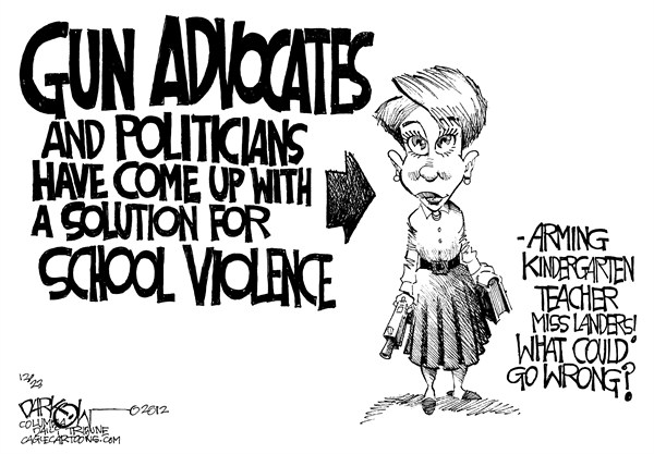 Arming the Teachers © John Darkow,Columbia Daily Tribune, Missouri,Arm,Teachers,Guns,Control,Schools,Advocates,Politicians,Solution,Violence,Killing,Kindergarten,Elementary,Security,connecticut shooting, school violence