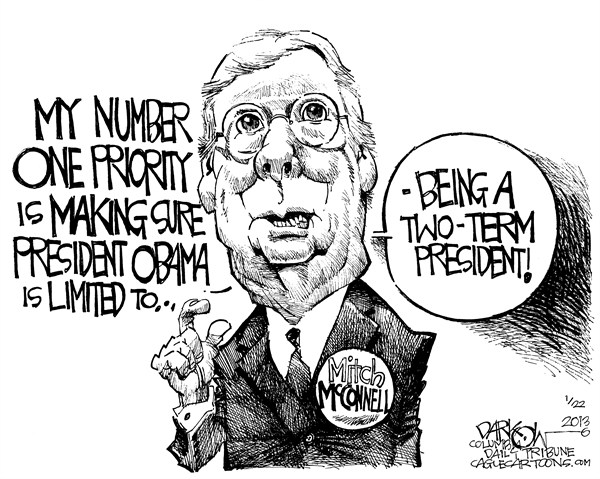 John Darkow - Columbia Daily Tribune, Missouri - Mitch McConnell - English - Mitch, McConnell, President, Obama, term, Number, One, Priority, Kentucky, moderation, gun control