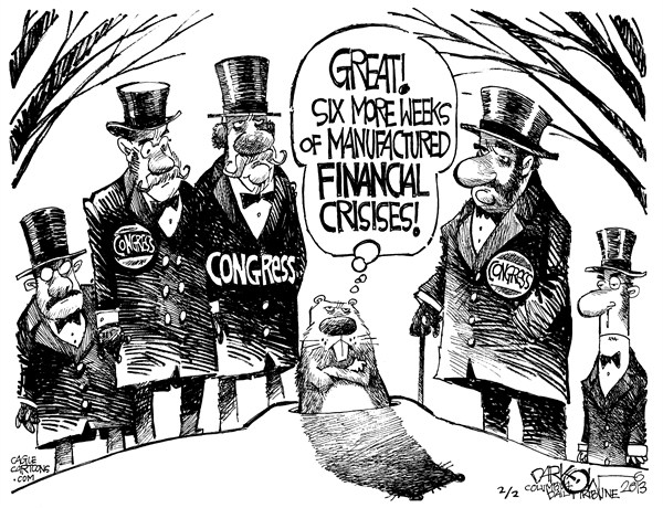 John Darkow - Columbia Daily Tribune, Missouri - Groundhog Day - English - Ground, Hog, February, Cold, Shadow, Punxsutawney, Phil, Burrow, Pennsylvania, Winter, 6 Weeks, Financial, Crisis