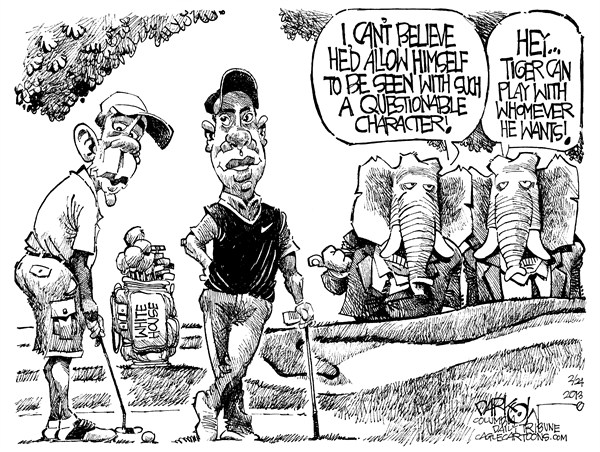 John Darkow - Columbia Daily Tribune, Missouri - Tiger Obama Golf - English - Tiger, Woods, Obama, Golf, Vacation, President