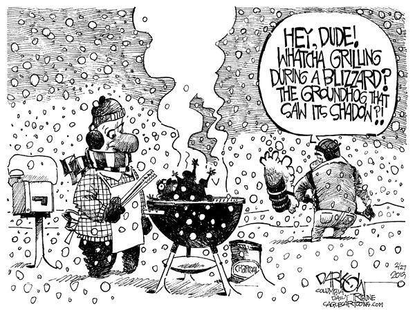 John Darkow - Columbia Daily Tribune, Missouri - Waiting for Spring - English - Winter, Snow, Blizzard, Groundhot, Shadow, Dude, Grill, Mailbox, Shovel, Charcoal, Phil, Spring