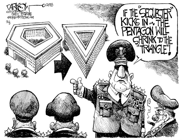 John Darkow - Columbia Daily Tribune, Missouri - Downsizing at Defense - English - Down,Size,Pentagon,Triangle,Sequester,Kick,Shrink,Troops,Forces,Congress,Politics,Government,Defense,Washington,White House,Sequestration