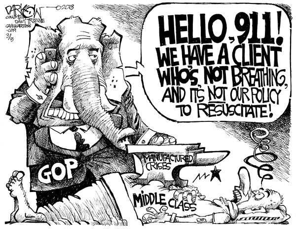 John Darkow - Columbia Daily Tribune, Missouri - Do not resuscitate - English - Middle, Class, GOP, manufactured, Crises, 911, Policy, Resuscitate, Breathing, neglect, abuse of power, finances, issues