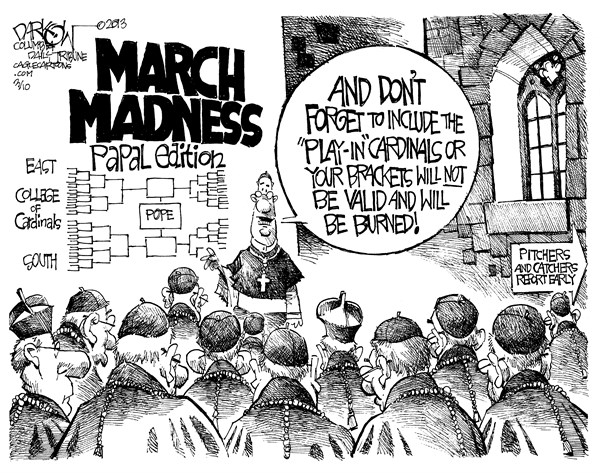 Sweet Sistine © John Darkow,Columbia Daily Tribune, Missouri,Sweet, Cardinal, Vadican, Valid, Burned, March, Madness, Papal, Edition, East, College, South, Pope, Play, Brackets, Pitchers, Catchers, Report, Early, Catholic