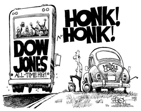 John Darkow - Columbia Daily Tribune, Missouri - Getting Left Behind - English - Honk, Beep, Volkswagon, Car, Middle, Class, Dow, Jones, All, Time, High, Bus, Road, Tire, Flat, Behind
