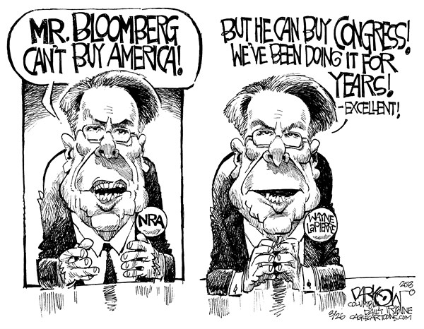 NRA Buys Congress © John Darkow,Columbia Daily Tribune, Missouri,NRA, Rifle, National, Association, Bloomberg, Buy, American, Congress, Year, Excellent, Wayne, Lapierre, Men, Politics, Government