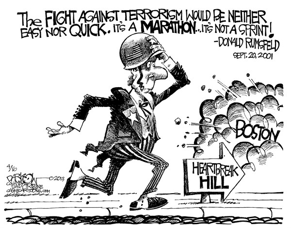 Marathon Mayhem © John Darkow,Columbia Daily Tribune, Missouri,Marathon,Run,Heartbreak,Boston,Hill,Sprint,Disaster,Fight,Terror,Terrorism,Bomb,Street,Finish,Race,Explosion,boston marathon