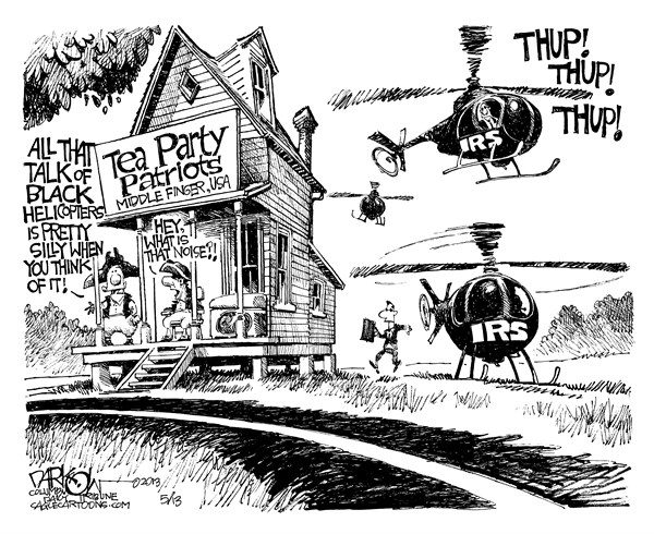 "John Darkow - Columbia Daily Tribune, Missouri - ""Taxman Cometh"" - English - taxman, cometh, tea party, tea, party, middle, finger, thup, IRS, noise, talk, black , helicopters, silly, patriots, government, politics, economy"