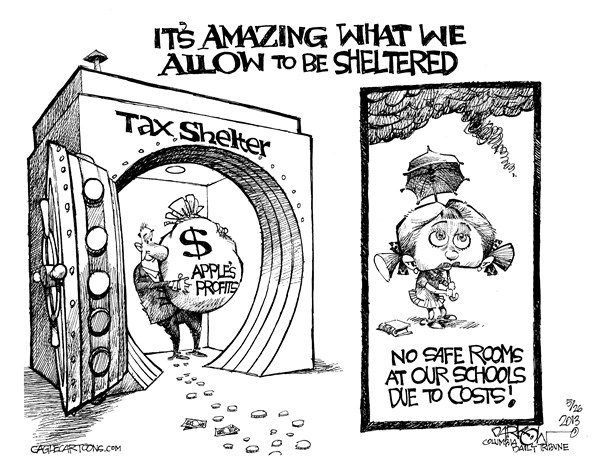 "John Darkow - Columbia Daily Tribune, Missouri - ""Shelter From The Storm"" - English - storm, amazing, allow, sheltered, tax, shelter, bank, profit, money, taxes, safe, room, schools, costs, children, tornado"