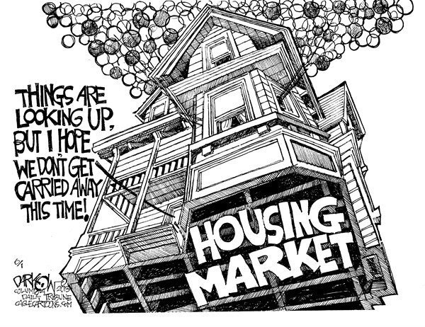 John Darkow - Columbia Daily Tribune, Missouri - Housing Market Up - English - Sellers, shots, deals, Home, Mortgage, rates, Highest, Foreclosure, extension, strongest, booming, housing, recovery, credit, demand, economic growth