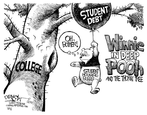 John Darkow - Columbia Daily Tribune, Missouri - College Cost Bubble - English - deep, debt, student, housing, bubble, cost, college