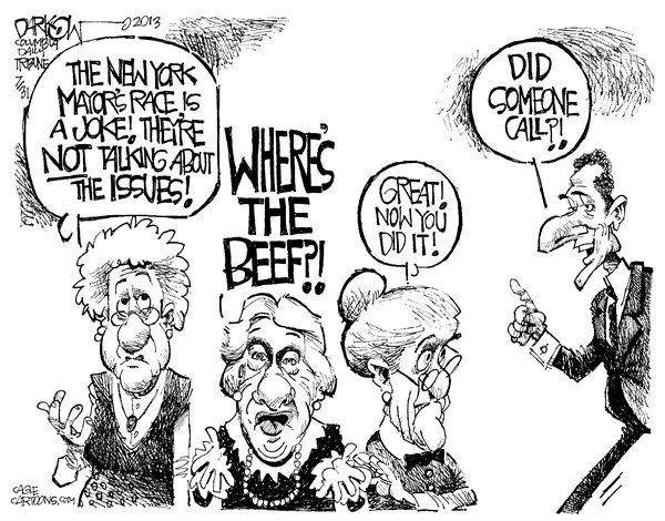 John Darkow - Columbia Daily Tribune, Missouri - Where's the Beef - English - New York, Mayor, Joke, issues, Quinn, Weiner, morality, sexist, candidate