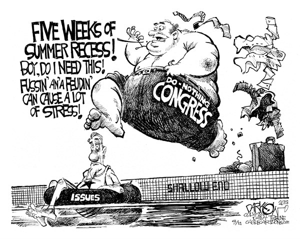 "John Darkow - Columbia Daily Tribune, Missouri - ""Congress Goes On Vacation"" - English - congress, vacation, government, five, weeks, summer, recess, feud, feuding, arguing, stress, issues, relax, work,"