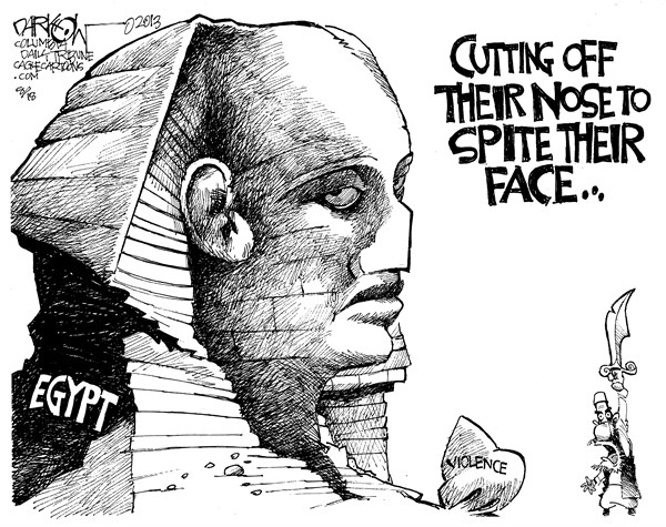 John Darkow - Columbia Daily Tribune, Missouri - Brother On Brotherhood Violence - English - Violence, Brother, Egypt, Tomb, Statue, Cut, Face, Nose, Spite, Knife, Fight, Mean, Government, Politics