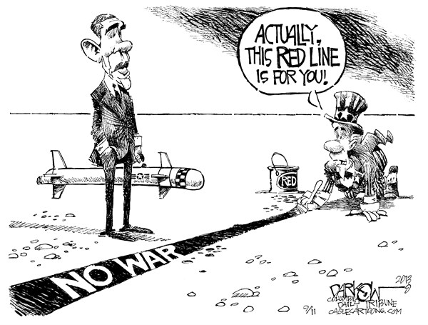 John Darkow - Columbia Daily Tribune, Missouri - Red Line For Obama - English - No War, Red, Line, Syria, Congress, Republican, President Obama, Russia, USS Barry, Persian Gulf, warfare, Chemical, weapons,