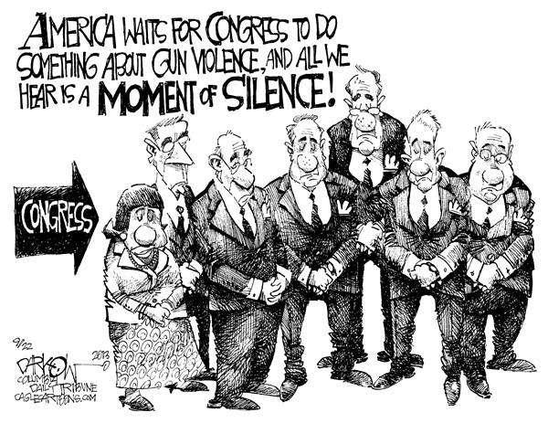 John Darkow - Columbia Daily Tribune, Missouri - Silence About Gun Violence - English - America, waits, Congress, Gun, Violence, Silence