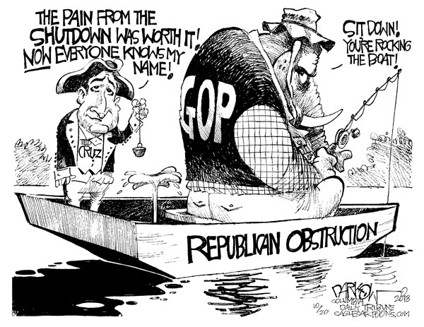 John Darkow - Columbia Daily Tribune, Missouri - Carnival Cruz - English - Shutdown, Congress, pain, republican, obstruction, government,