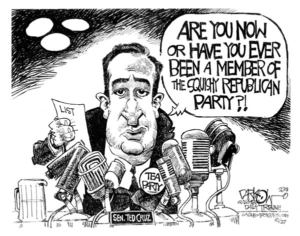Tail Gunner Ted © John Darkow,Columbia Daily Tribune, Missouri,tail, gunner, ted, cruz, senator, tea, party, member, republican, party, politics