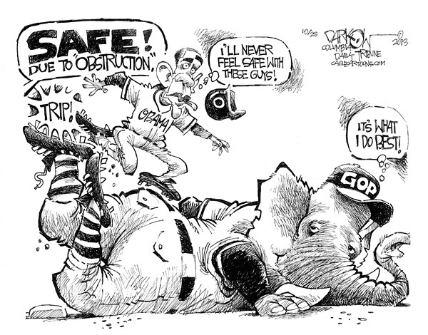 GOP Obstruction © John Darkow,Columbia Daily Tribune, Missouri,GOP, obstruction, safe, safety, feel, obama, president, republicans, democrats, government, politics