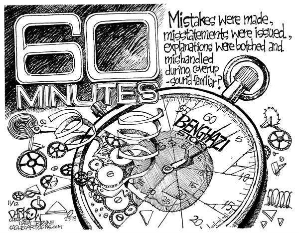 John Darkow - Columbia Daily Tribune, Missouri - Sixty Minutes Benghazi - English - Mistakes, Statement, Wrong, Misleading, Botched, Mishandled, Familiar, 60, Minutes, Benghazi, Time, Broken, Terrorist, Attack, FBI, Lie