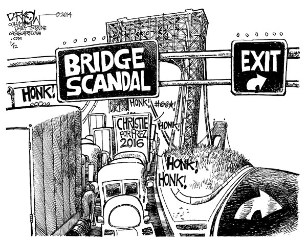 Fat Chance © John Darkow,Columbia Daily Tribune, Missouri,Honk, Traffic, Bridge, Scandal, Exit, Highway, Expressway, Turn, Grass, Vehicles, Cars, Trucks, Christie, Chris, 2016, New Jersey, George Washington, Fires, prosecutor, Snarl, Election