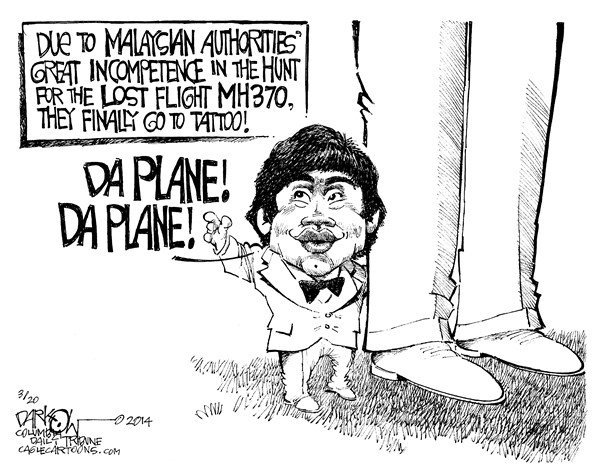 John Darkow - Columbia Daily Tribune, Missouri - Da Plane Da Plane - English - Fantasy Island, Ocean, Plane, Missing, Lost, Flight, MH370, Malaysian, Authorities, Officials, Tattoo, Hunt, Fish, Water, Look