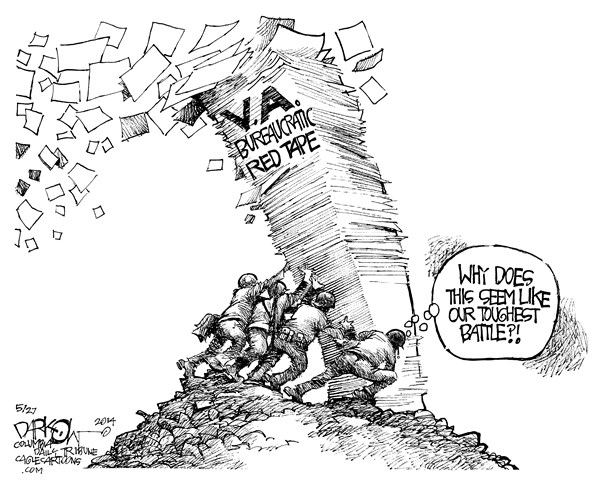 Cartoon description: Just like the iconic photograph of five helmeted WW2 veterans working together to plant an American flag in a muddy clearing on Iwo Jima, but in this iteration, the five famous GIs struggle to foist forward a tower of VA paperwork instead.