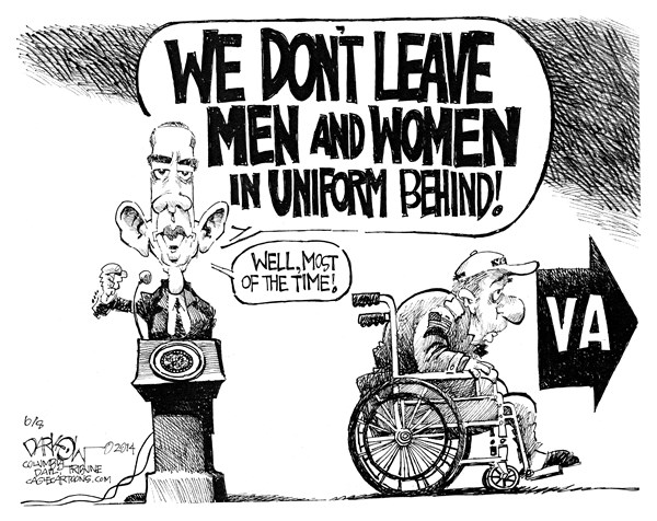 John Darkow - Columbia Daily Tribune, Missouri - Leave No One Behind - English - dont, leave, men, women, anyone, uniform, behind, president, barack, obama, veterans, military, armed, forces, va, elderly, disabilities