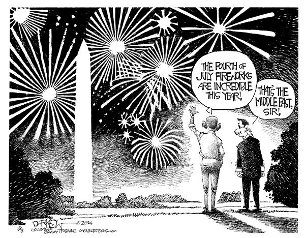 John Darkow - Columbia Daily Tribune, Missouri - Middle East Fireworks - English - July, 4, Fireworks, Explode, Middle East, Sir, Obama, President, Washington, Monument, Sky, Night, Fight, Show, 400,000, light up, Persian Gulf, midnight, Guinness record