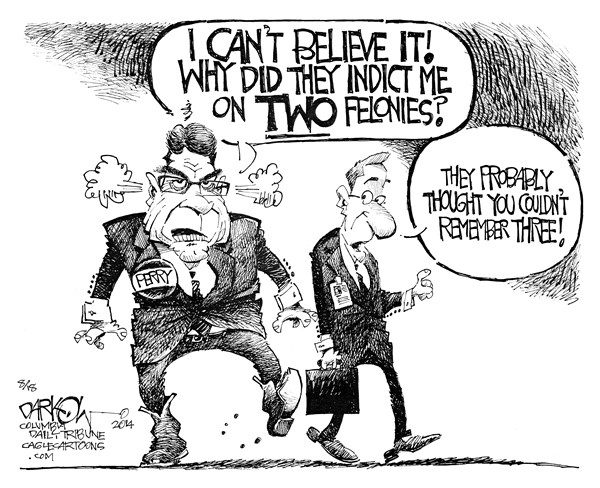 Perry Indicted © John Darkow,Columbia Daily Tribune, Missouri,texas, governor, rick, perry, indicted, two, felonies, abuse, power, felony, office