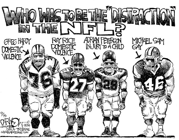 NFL Distraction © John Darkow,Columbia Daily Tribune, Missouri,NFL, Domestic Violence, Ray Price, Greg Hardy, Michael Sam, Adrian Peterson