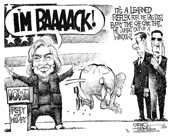 I'm Baaaack © John Darkow,Columbia Daily Tribune, Missouri,learned, reflex, im, back, iowa, hillary, clinton, office, president, candinate, running, election, democrat, speculation