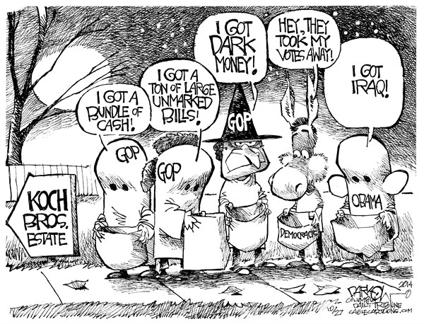 Koch Brothers Halloween © John Darkow,Columbia Daily Tribune, Missouri,Elections, Koch Brothers, Obama, Republicans