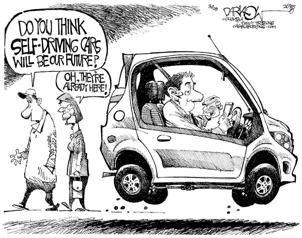 Driven To Distraction © John Darkow,Columbia Daily Tribune, Missouri,Self-Driving Cars, Transportation