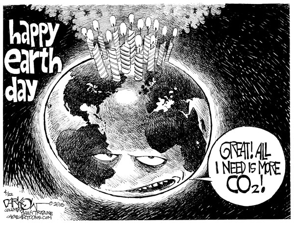 Earth Day © John Darkow,Columbia Daily Tribune, Missouri,Earth Day, Pollution, Global Warming, CO2