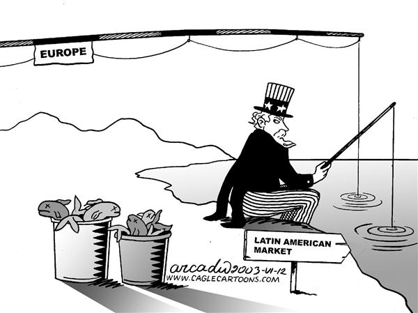 Arcadio Esquivel - La Prensa, Panama, www.caglecartoons.com - Fishing business - English - Fishing, Business, Europe, Market, Latin America
