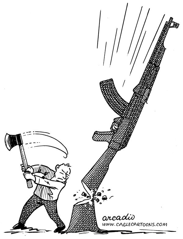 Arcadio Esquivel - La Prensa, Panama, www.caglecartoons.com - Rifle Chopper - English - rifle, gun, control, violence, chopper, cutter, ax