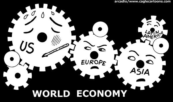 Arcadio Esquivel - La Prensa, Panama, www.caglecartoons.com - World Economy - English - world, economy, US, Europe, Asia, Latin America,  gears