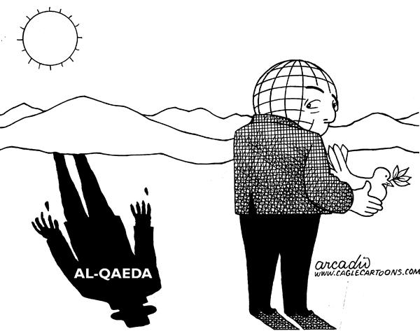 Arcadio Esquivel - La Prensa, Panama, www.caglecartoons.com - The Shadow of Al-Qaeda - English - terrorism, shadow, world, war, bin laden, middle east, al qaeda