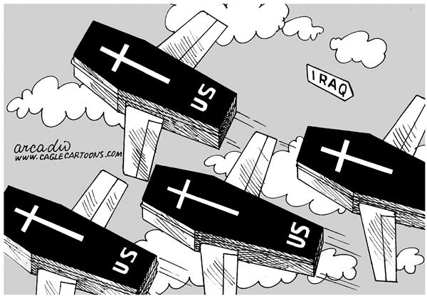 Arcadio Esquivel - La Prensa, Panama, www.caglecartoons.com - Coffins out of Iraq - English - death, war, soldiers, iraq, middle east, bush, casualties, coffins, casket,USA