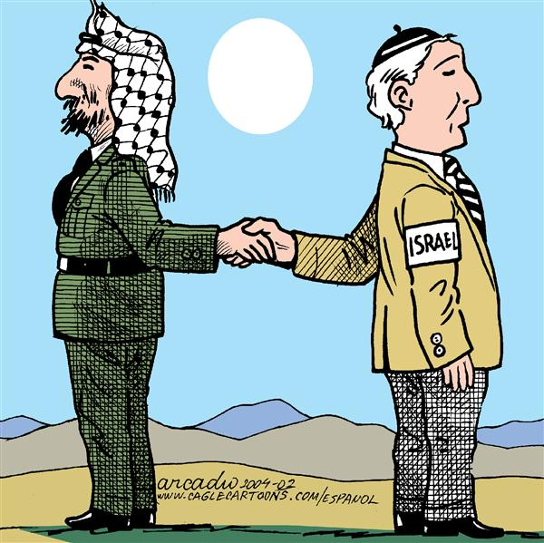 Arcadio Esquivel - La Prensa, Panama, www.caglecartoons.com - Doubtful Dialogues - English - dialogues, peace, war, palestine, israel, arafat, saron, middle east