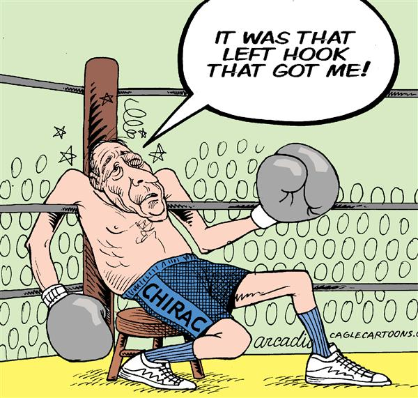 Arcadio Esquivel - La Prensa, Panama, www.caglecartoons.com - Chirac in the Ring - English - chirac, france, boxing, ring, hook, left, fight