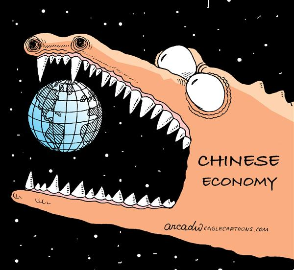 Arcadio Esquivel - La Prensa, Panama, www.caglecartoons.com - Chinese Economy - English - china, economy, world, dragon