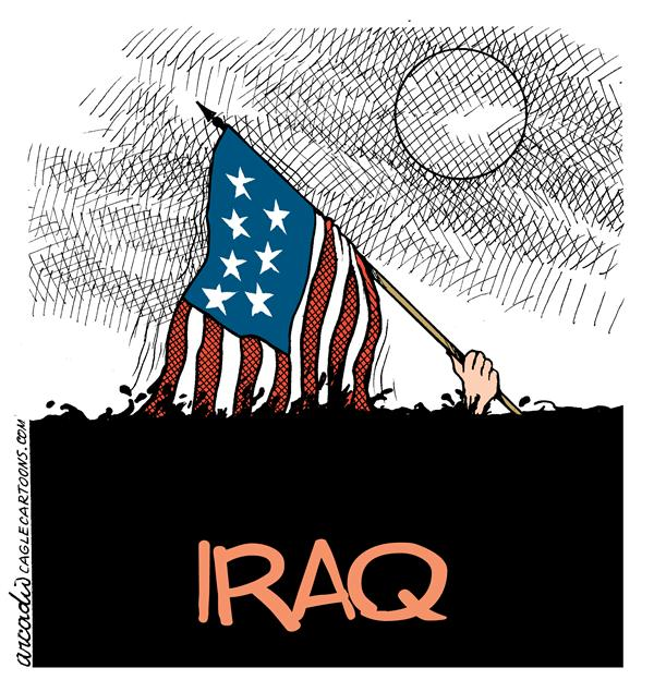 Arcadio Esquivel - La Prensa, Panama, www.caglecartoons.com - USA in Iraq - COLOR - English - flag, usa, iraq, war