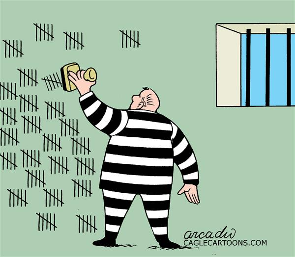 Arcadio Esquivel - La Prensa, Panama, www.caglecartoons.com - Practical Prisoner- COLOR - English - prison, prisoner, jail, convict