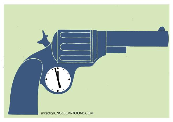 Arcadio Esquivel - La Prensa, Panama, www.caglecartoons.com - Time Gun - COLOR - English - gun, weapon, arm, time, watch